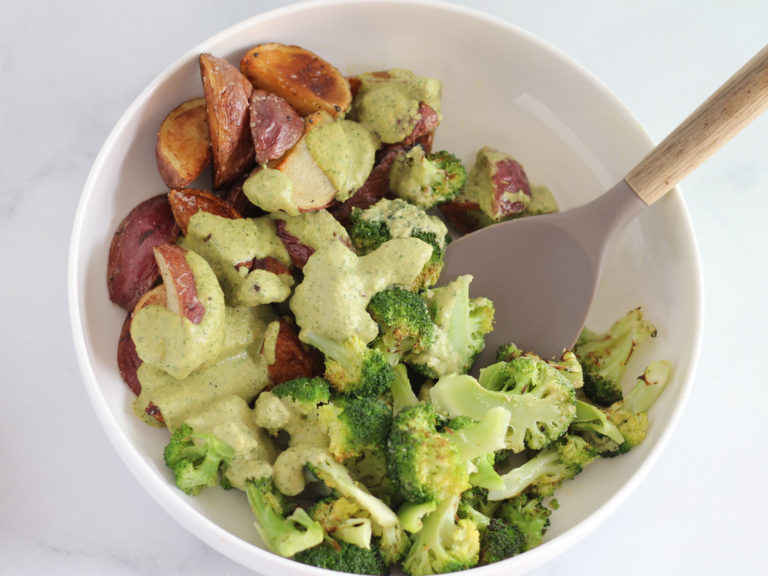 Charred Broccoli with Pan Roasted Potatoes and Creamy Herb Dressing