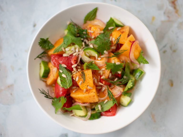 Cantaloupe, Cucumber and Tomato Salad Recipe