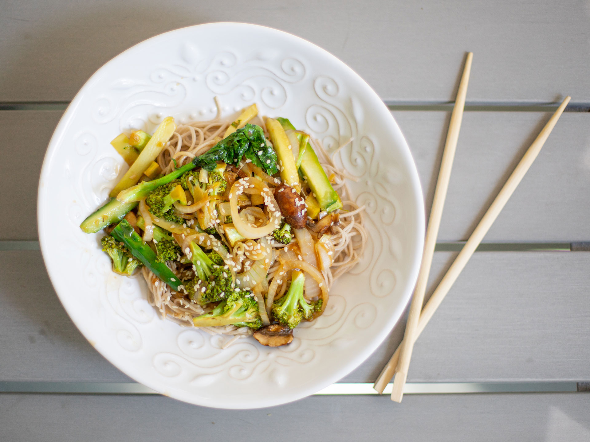 Chinese Broccoli, Mushrooms & Cucumber with Soba Noodles Recipe