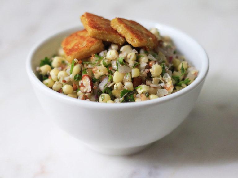 Corn, Walnut, Cilantro Salad with Jalapeño and Masa croutons