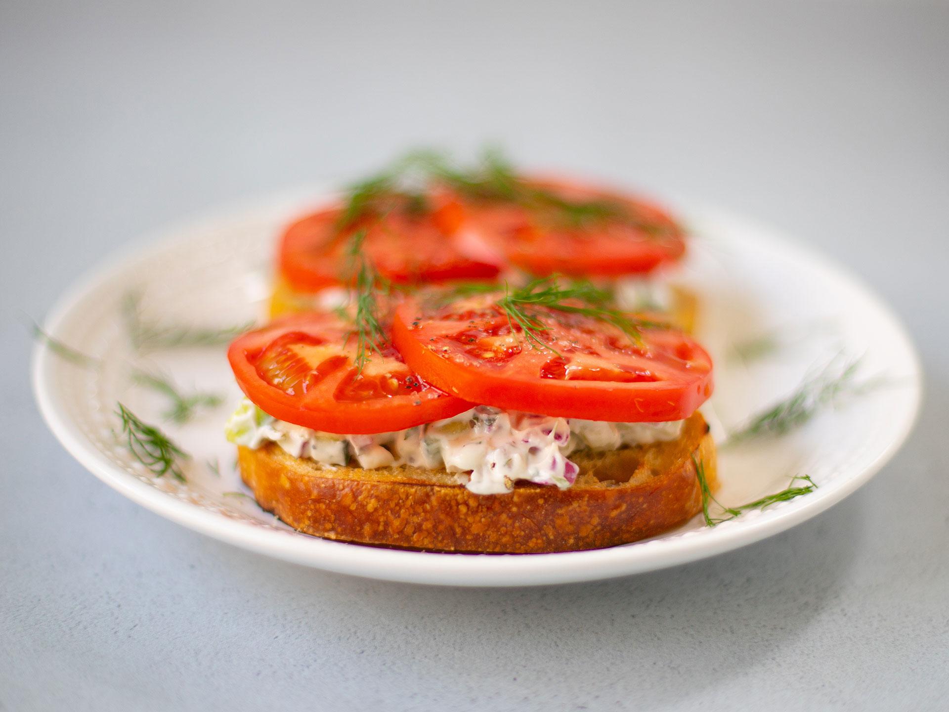 Open-Faced Tomato Sandwiches with Creamy Cucumber Spread Recipe