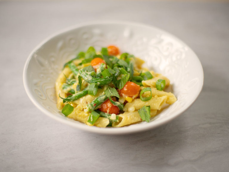 creamy corn cherry tomato green beans pasta fresh herbs recipe