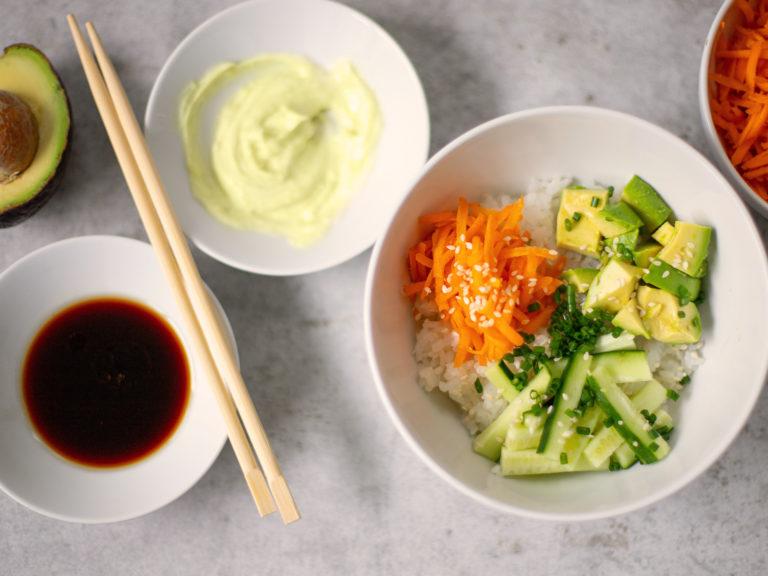 Vegan Cucumber Avocado Sushi Bowl