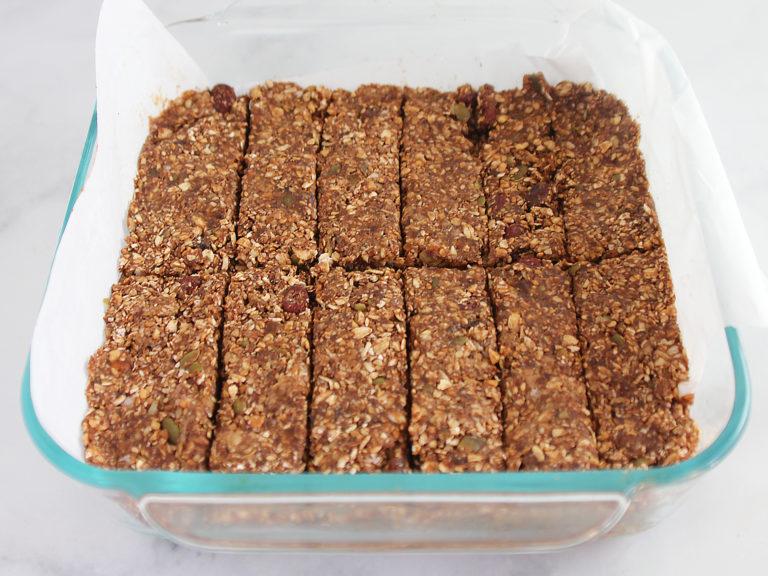 A pan of 12 breakfast bars