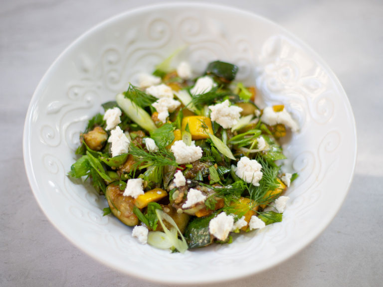 Roasted Zucchini with Celery Leaves, Dill, Balsamic Reduction and Almond Milk Ricotta Recipe
