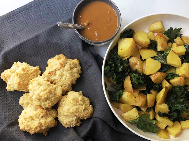 Roasted Potatoes with Kale, Gravy and Biscuits