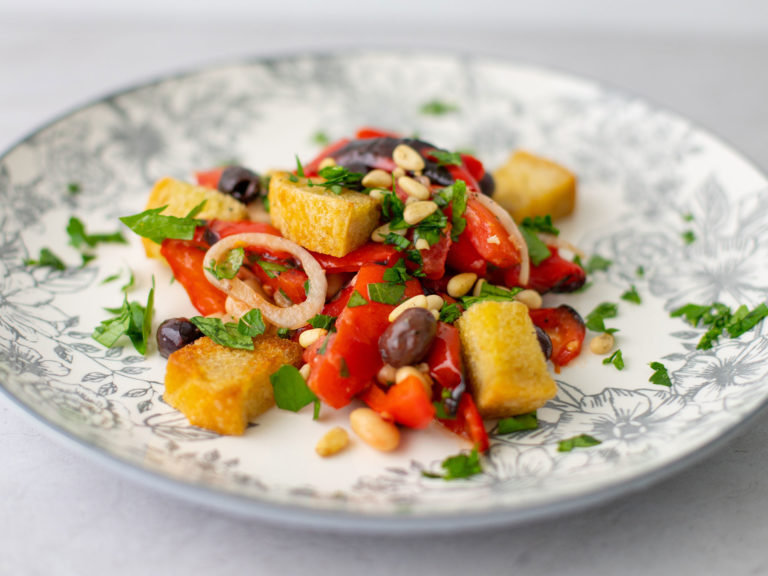 Roasted Red Pepper Panzanella Salad Recipe