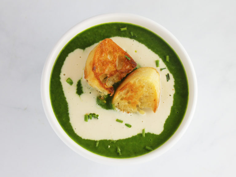 a bowl of creamy spinach soup