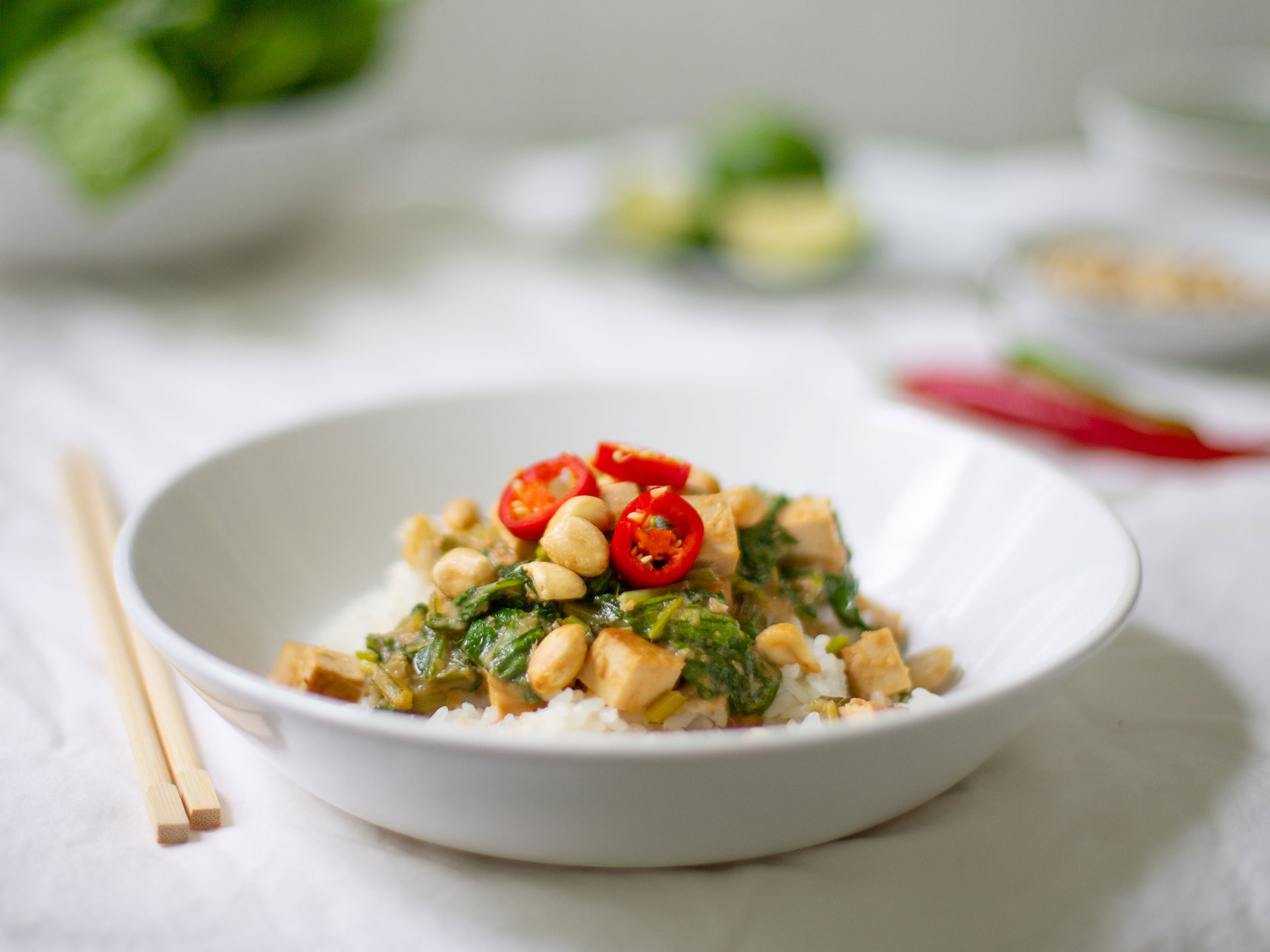 Tofu And Spinach In Thai Peanut Sauce Shifty Crafty