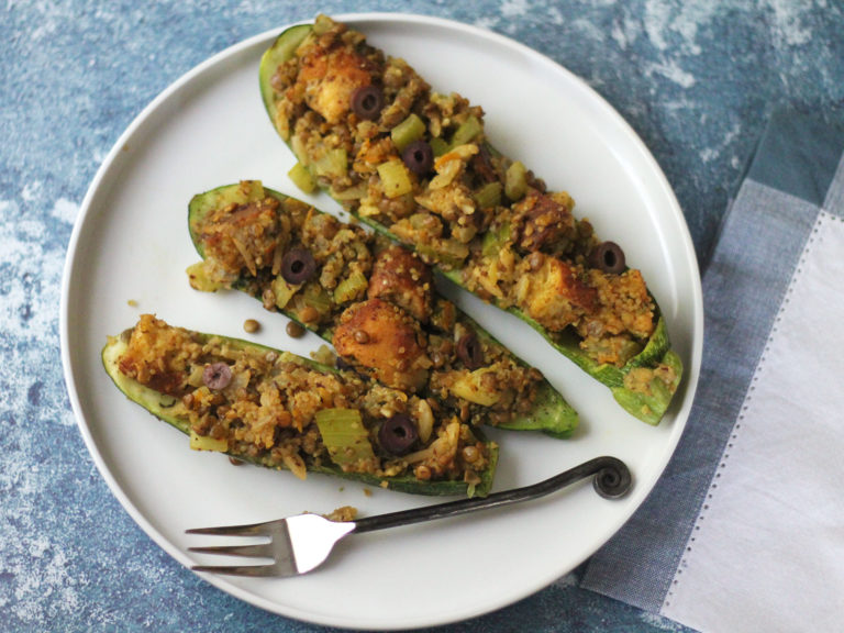 Zucchini With Quinoa and Lentil Stuffing